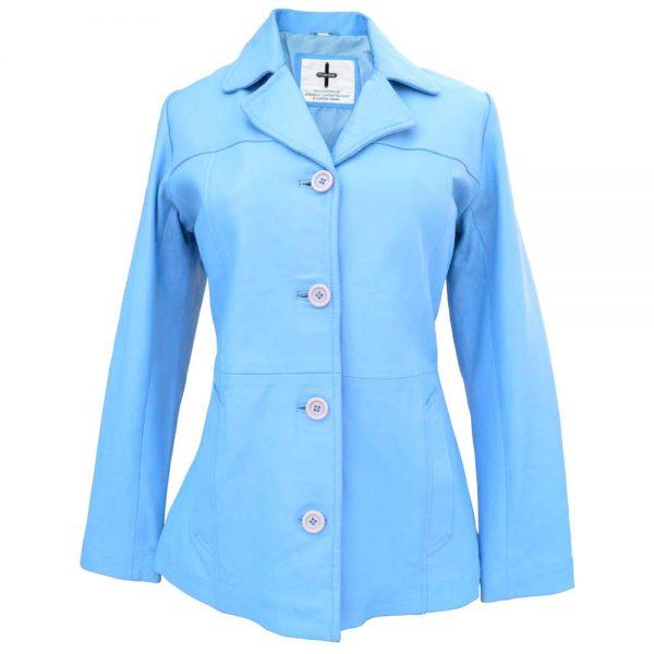 go-blue-leather-blazer-women